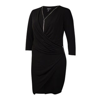 INC International Concepts Women's Zip-Trim V-Neck Jersey Dress (16, Black) - Black - 16