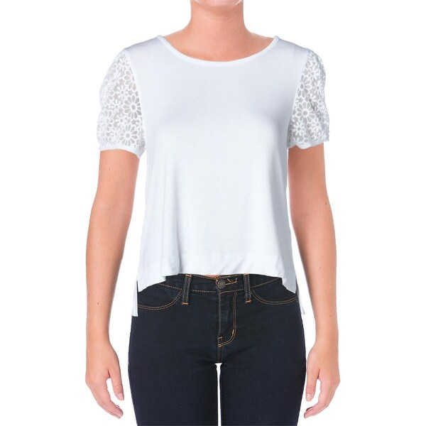 Kensie Womens Casual Top Jersey Lace-Trim