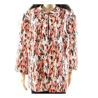 Nipon Boutique NEW Orange Womens Size 18W Plus Printed Flyaway Jacket