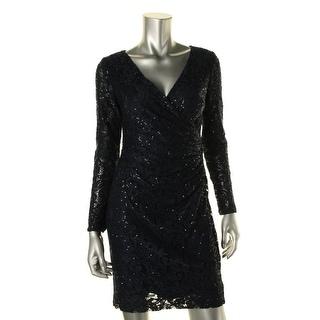 Lauren Ralph Lauren Womens Petites Cocktail Dress Sequined Lace Overlay