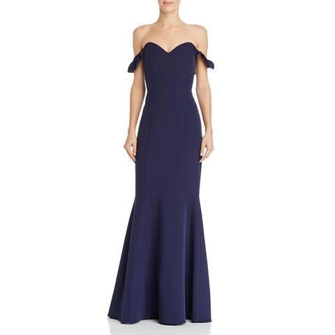 WAYF Womens Gabriella Formal Dress Off-The-Shoulder Ruffled