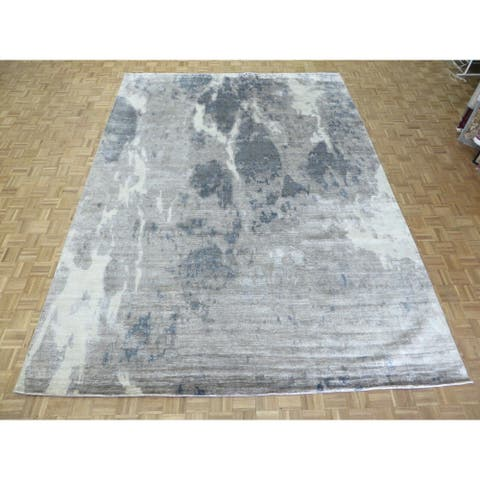 """Hand Knotted Gray Modern with Silk Blend Oriental Rug (10'3"""" x 13'11"""") - 10'3"""" x 13'11"""""""
