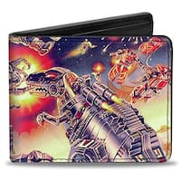 Transformers Devastator Dinobots '85 Box Art Battle Scene Close Up Bi Fold Bi-Fold Wallet - One Size Fits most