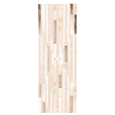 ECARPETGALLERY Handmade Cowhide Patchwork Beige Jute, Leather Rug - 2'4 x 6'11