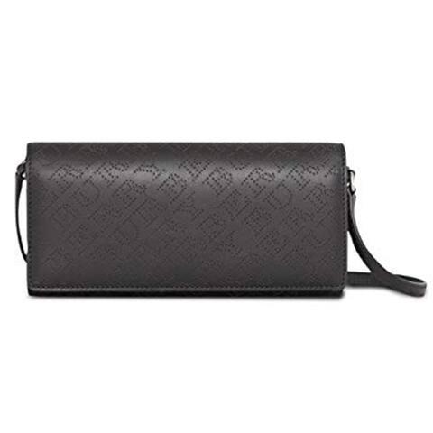 Burberry Womens Black Perforated Logo Clutch Handbag