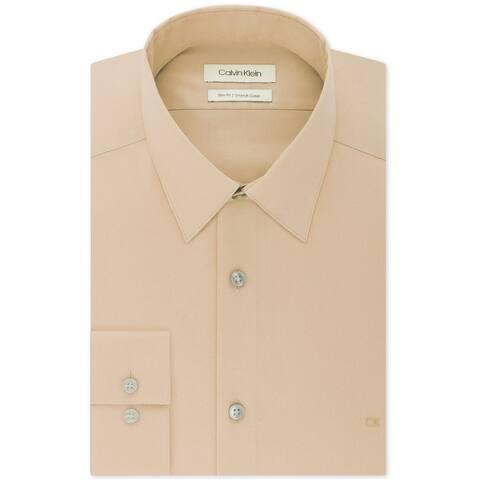Calvin Klein Mens Stretch Collar Button Up Dress Shirt