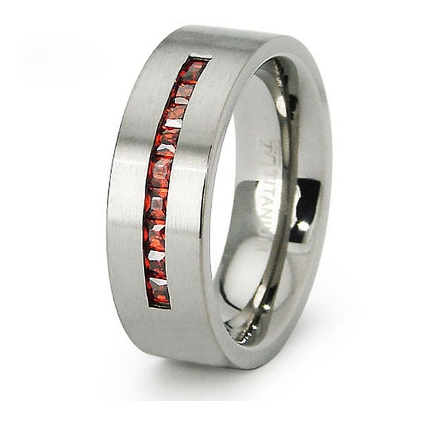 Ladies Titanium Band with Garnet Colored CZs (Sizes 6-8)