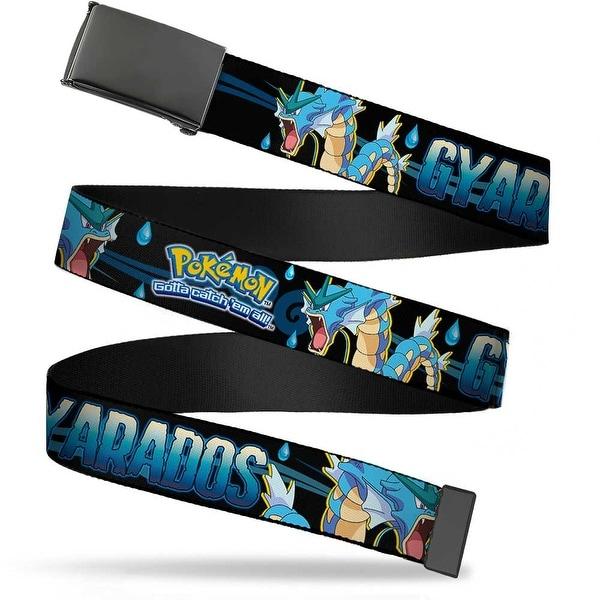 Blank Black Buckle Pokemon Logo Gyarados Pose Water Drops Black Blues Web Belt