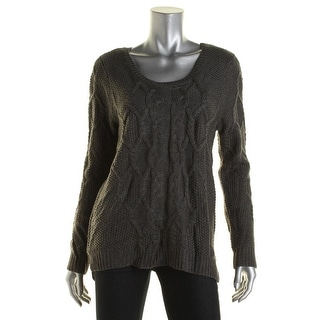 Hippie Rose Womens Cable Knit U-Neck Pullover Sweater