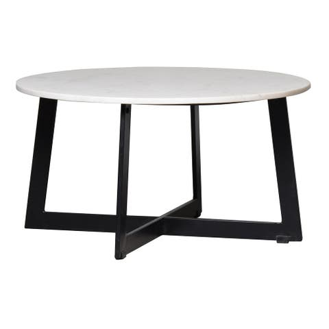 """Turley White Marble Round Coffee Table - 30"""" x 16"""""""