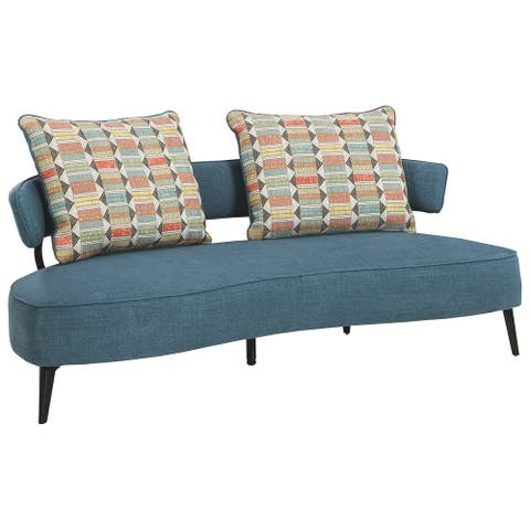 Fabric Upholstered Split Back Curved Sofa with Metal Legs, Blue