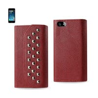 REIKO IPHONE SE/ 5S/ 5 STUDS WALLET CASE IN DARK RED