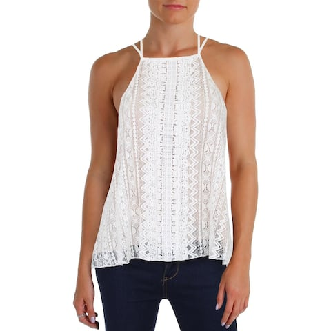 Aqua Womens Tank Top High Neck Embroidered