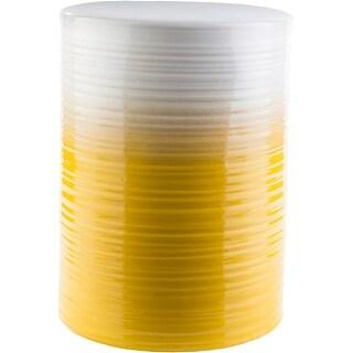 "18.1"" Yellow and White Glossy Finish Decorative Cylindrical Ceramic Stool"