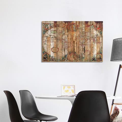 """iCanvas """"Reclaimed Wood Map"""" by Diego Tirigall Canvas Print"""