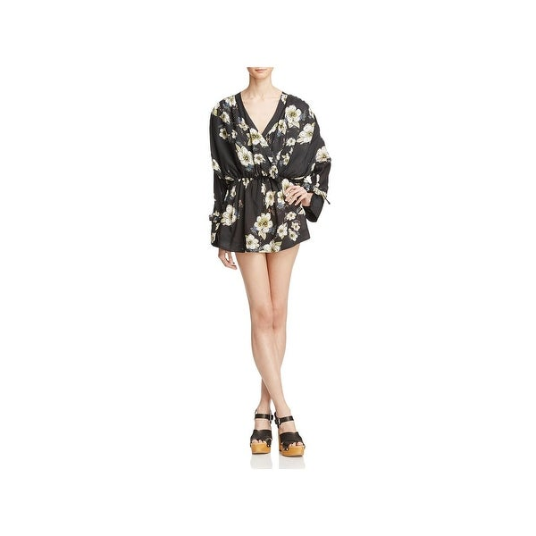 Free People Womens Tunic Dress Floral V-Neck