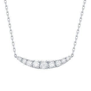 Smiling Rocks 0.33Ct G-H/VS1 Lab Grown Diamond Row Curved Bar Necklace