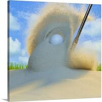 Premium Thick-Wrap Canvas entitled Sand wedge hitting a golf ball out of a sand trap - Multi-color