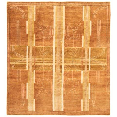 ECARPETGALLERY Hand-knotted Finest Peshawar Ziegler Brown Wool Rug - 8'3 x 9'1