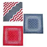 CTM® Wavy American Flag and Paisley Bandana Kit (Pack of 3) - One size
