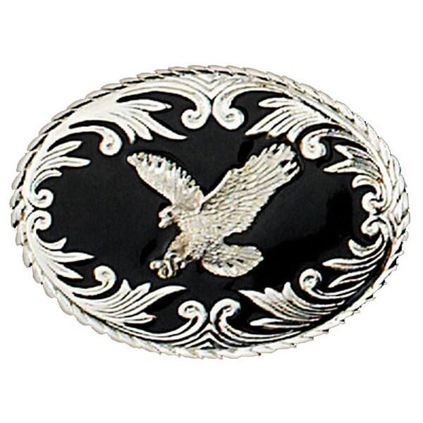 Silver Eagle on Black Enamel Belt Buckle - One size