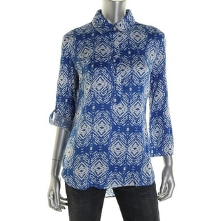 Felicite Womens Printed Pocket Casual Top
