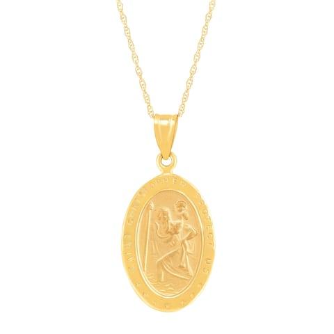 Eternity Gold St. Christopher Medallion Pendant in 10K Gold - Yellow