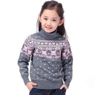 Children's Sweater Spring Autumn Girls Cardigan Kids Turtle Neck Sweaters Girl's Fashionable Style Outerwear Pullovers