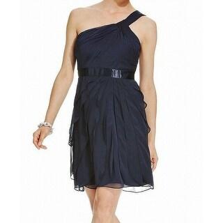 Adrianna Papell Blue Women's Size 12 One-Shoulder Sheath Dress