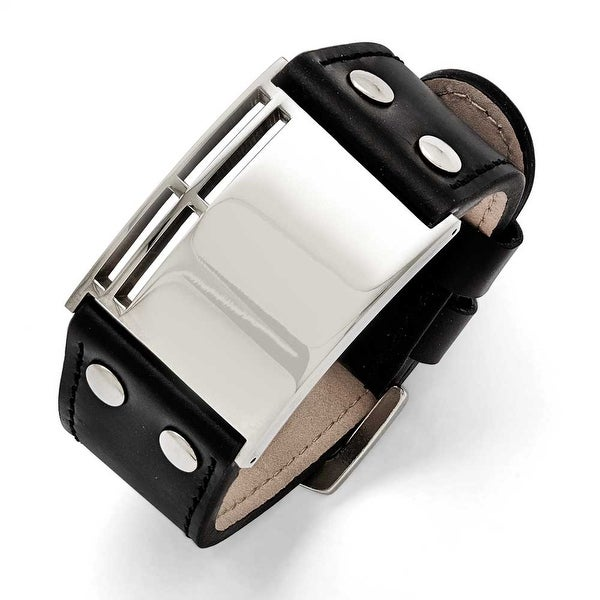 Chisel Stainless Steel Polished Black Leather Buckle Bracelet