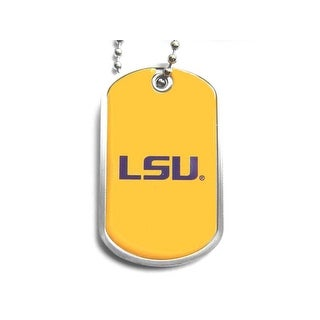 LSU Tigers Dog Tag Domed Necklace Charm Chain NCAA