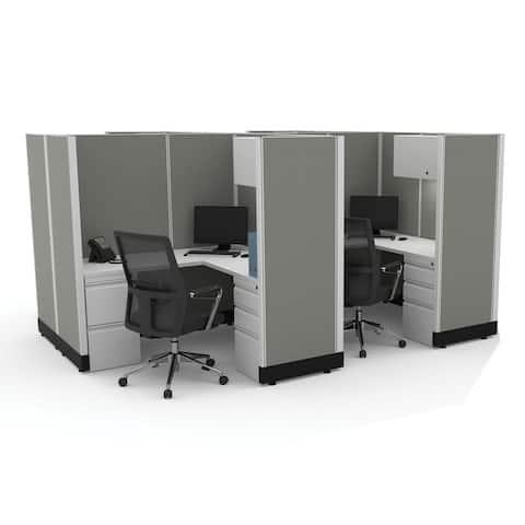 Modular Office Desk Furniture 67H 4pack Cluster Powered