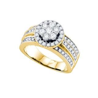 1 1/4Ct Diamond Flower Ring Yellow-Gold 14K