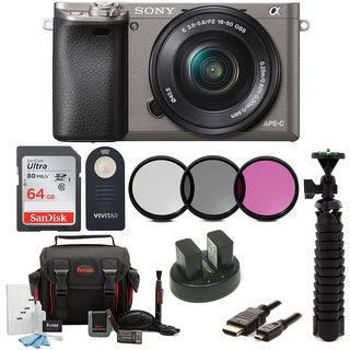 Sony Alpha a6000 Camera w/ 16-50mm Lens and 64GB SD Card Bundle (Graphite)