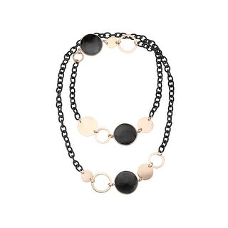 Zoccai 925 Jet Quartz Mesh Link Necklace in Pink Gold-Toned Sterling Silver - Black