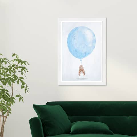 Wynwood Studio 'Up Up and Away' Animals Blue Wall Art Framed Print