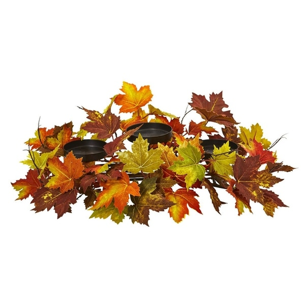 Nearly Natural Holiday Decor Maple Leaf Artificial Arrangement Candelabrum