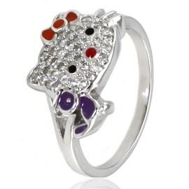 Sterling Silver Cubic Zirconia Kitty Ring w/ Purple Bird