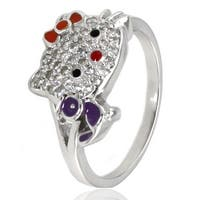 Sterling Silver Cubic Zirconia Kitty Ring w/ Purple Bird
