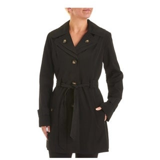 London Fog Layered-Collar Belted Trench Coat in Black