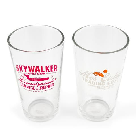 Star Wars 16 oz Pint Glass 2-Piece Set Mos Eisley Co. Skywalker & Sons Designs - multi-colored