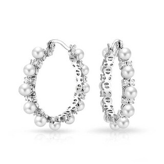 Bling Jewelry Imitation Pearl Hoop CZ Bridal Earrings Rhodium Plated