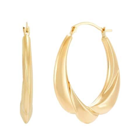 Finecraft '28 mm Sculpted Draped Hoop Earrings' in 10K Yellow Gold