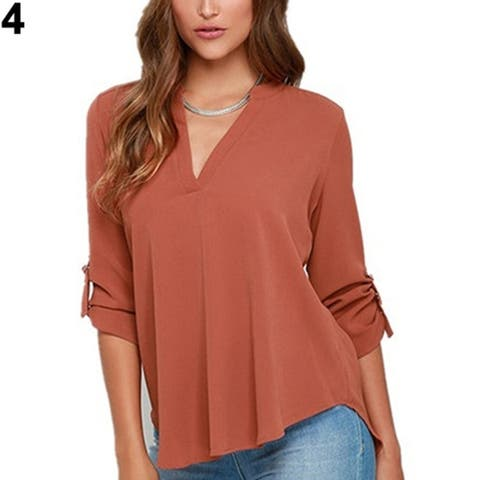 1a236080572 Casual V-neck Chiffon Top