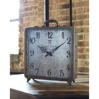 Pack of 2 Vintage Style Footed Decorative Suitcase Table Clock 16