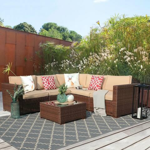 6 Piece Outdoor Sectional Wicker Sofa Set