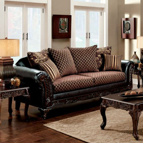 Furniture of America Mervaus Traditional Crosshatch Brown Sofa