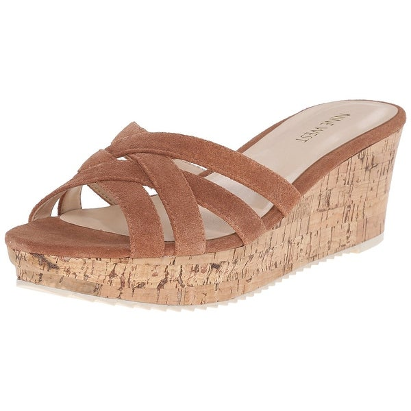 Nine West Womens Caserta Leather Open Toe Casual Platform Sandals