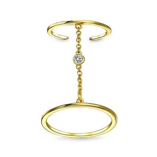 Bling Jewelry Gold Plated Silver CZ Full Finger Knuckle Chain Midi Ring (More options available)