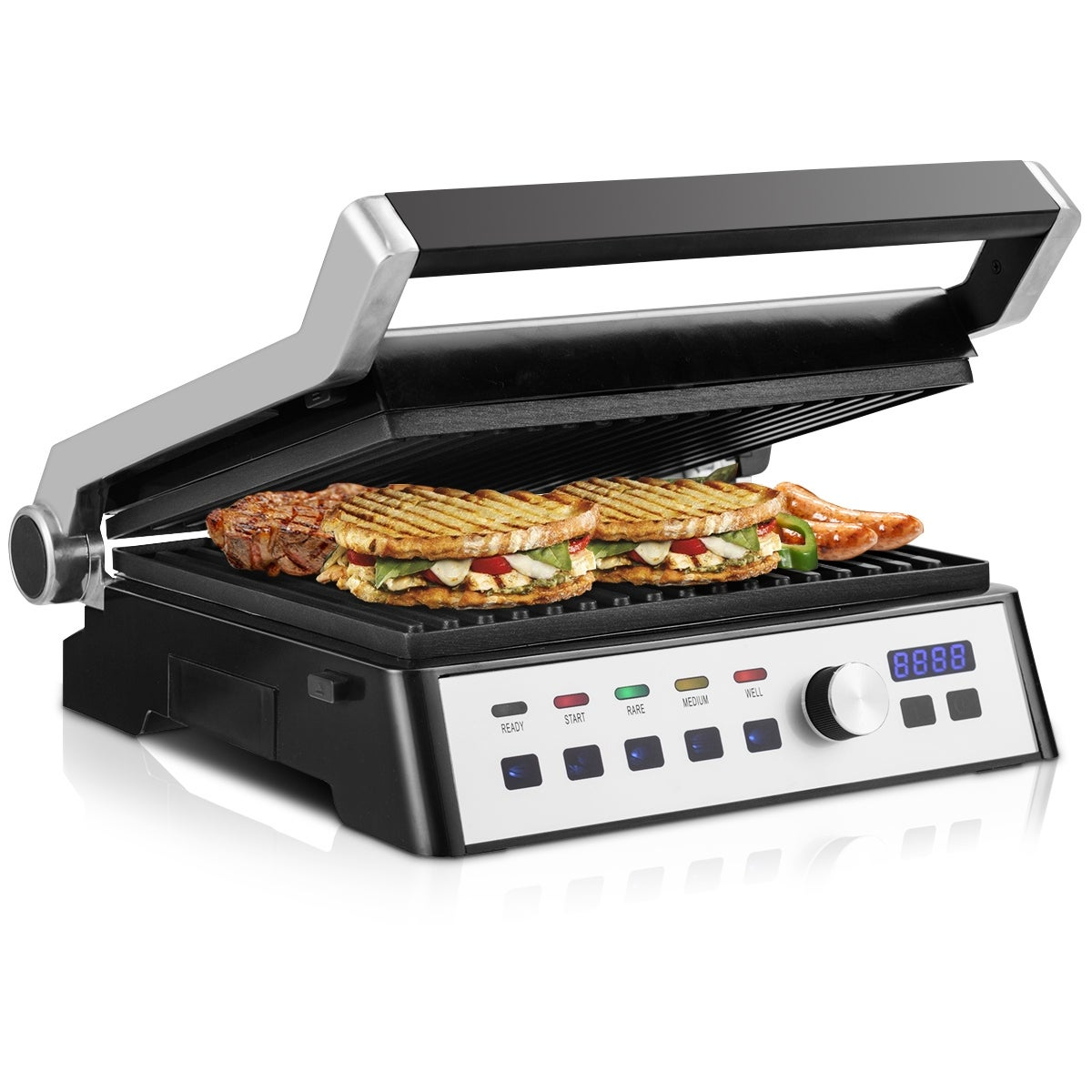 Gymax Electric Grill 1500W LCD Touch Display&Removable Plates Non-stick  Indoor Kitchen - as pic
